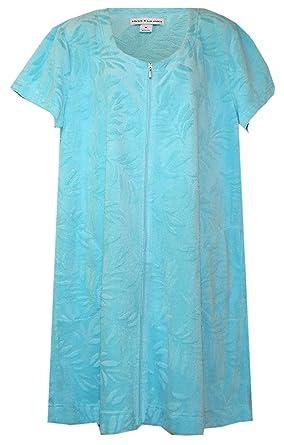 Miss Elaine Textured Soft Zip Plus Size Lounge Dress Bathrobe
