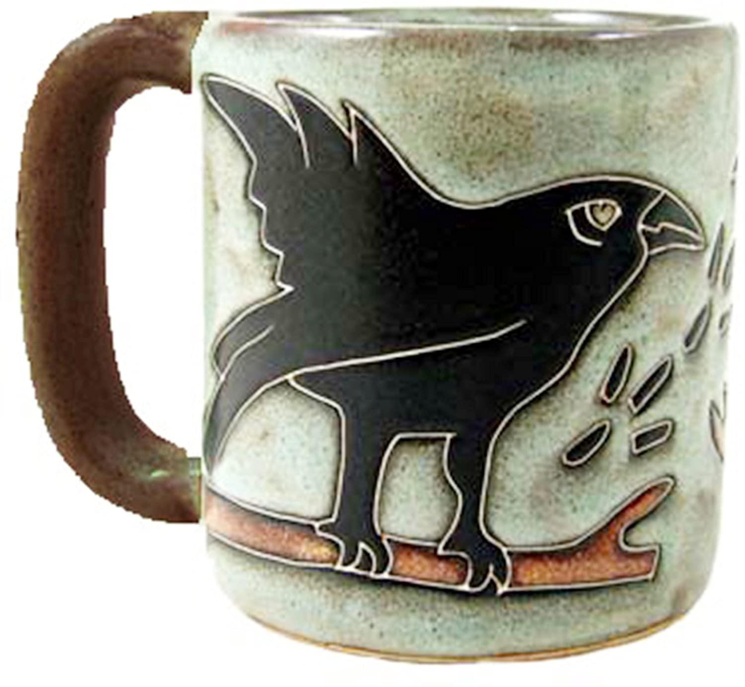 One (1) MARA STONEWARE COLLECTION - 16 Oz Coffee Cup Collectible Dinner Mug - Raven Bird Design