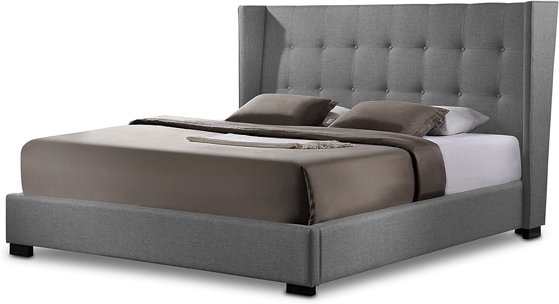 Baxton Studio Favela Linen Modern Bed with Upholstered Headboard, Queen, Grey