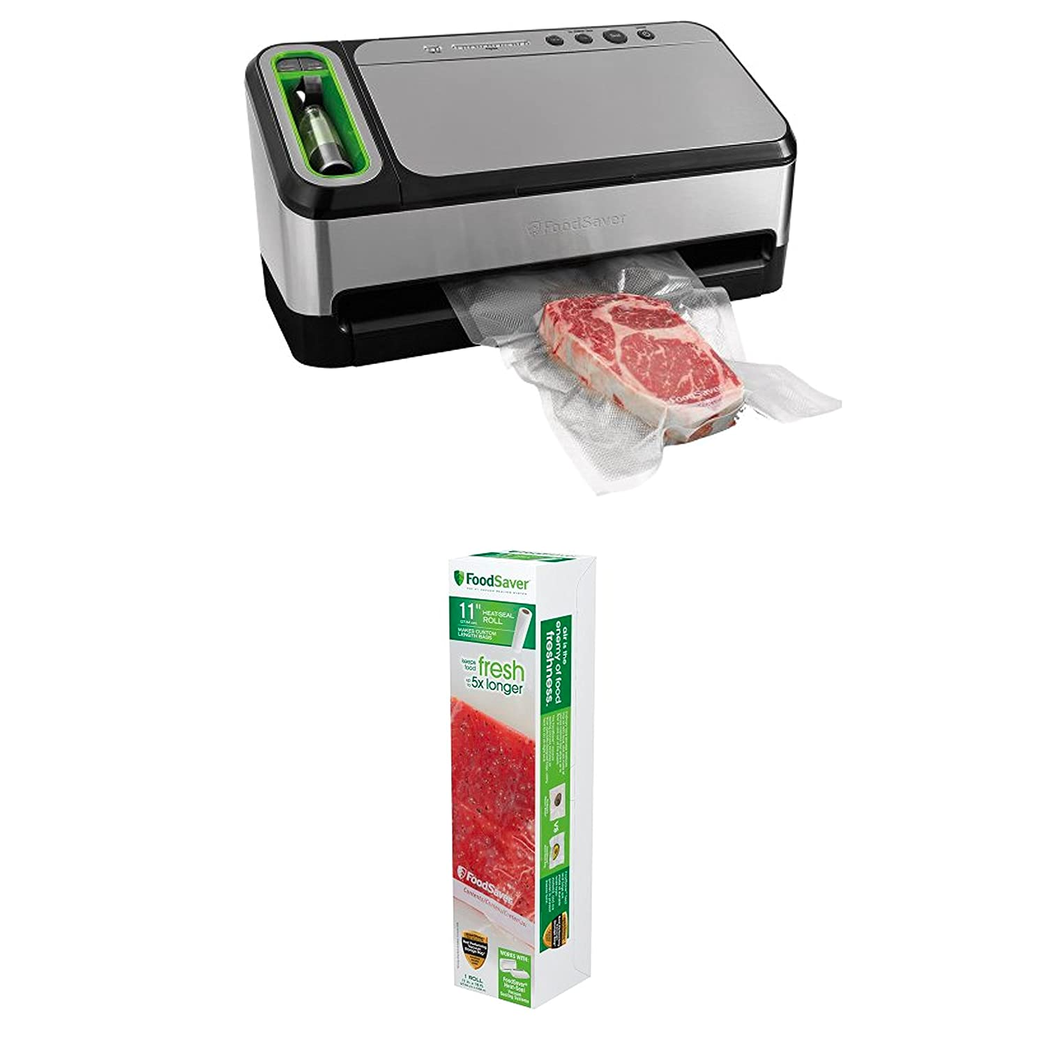"Bundle Includes 2 Items - FoodSaver 2-in-1 Vacuum Sealing System with Starter Kit, 4800 Series, v4840 and FoodSaver 11"" Roll with unique multi layer construction, BPA free"