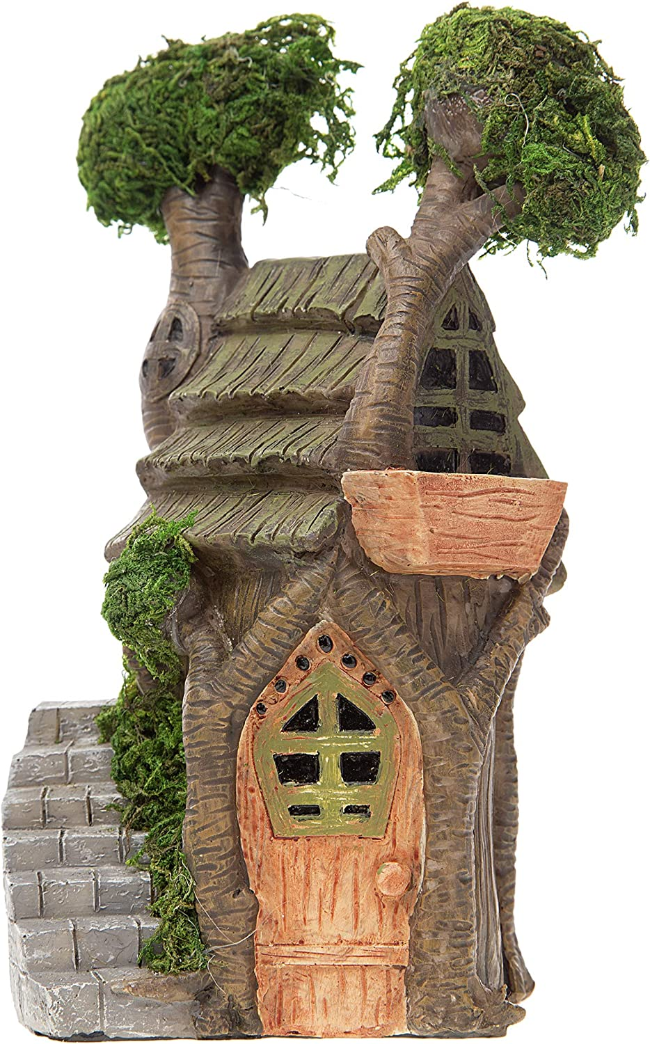 Darice Resin House: Double Treehouse with Moss Accents & Stairway Fairy Garden
