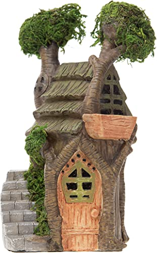 Darice Resin House Double Treehouse with Moss Accents Stairway Fairy Garden