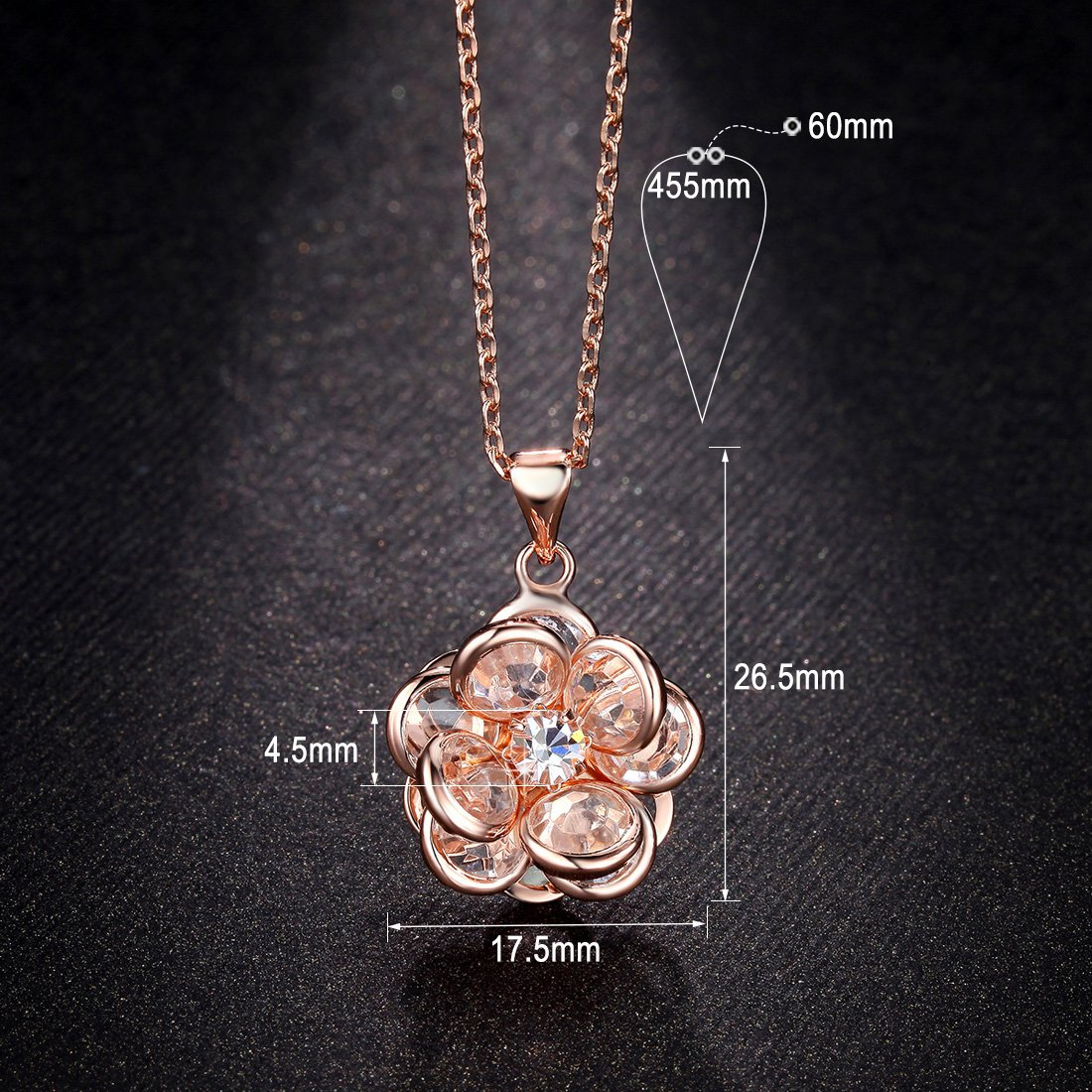 Amazon Newbark Cute Crystal Flower Pendant 18k Rose Gold Plated