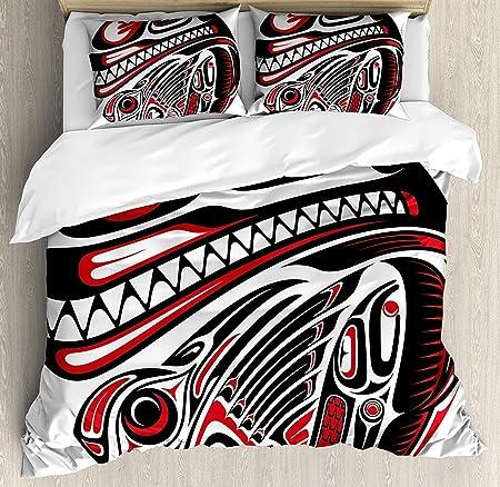 Juego de Funda nórdica Tribal 3 PCS, Haida Style Animal Art
