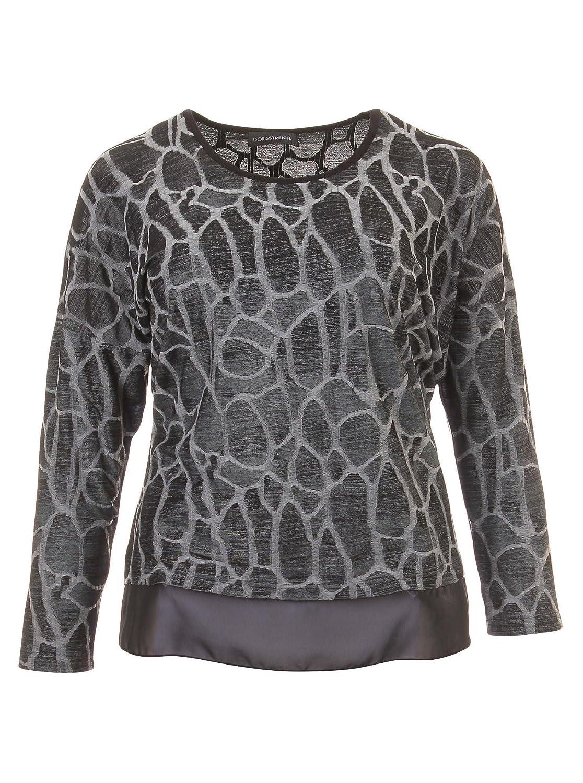 Langarmshirt mit Muster und Lagen-Look in grau/schwarz in Übergrößen (42, 44, 46, 48, 52) von Doris Streich