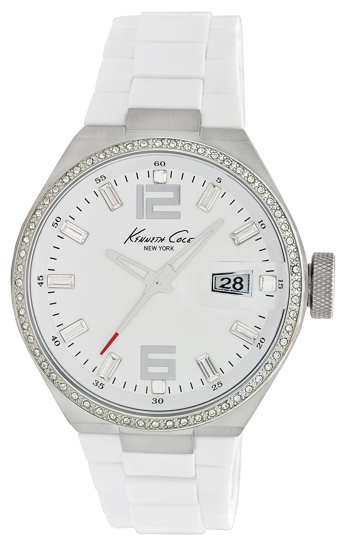 Kenneth Cole KC4811 - Reloj analógico de cuarzo para mujer con correa de acero inoxidable, color blanco: Kenneth Cole: Amazon.es: Relojes