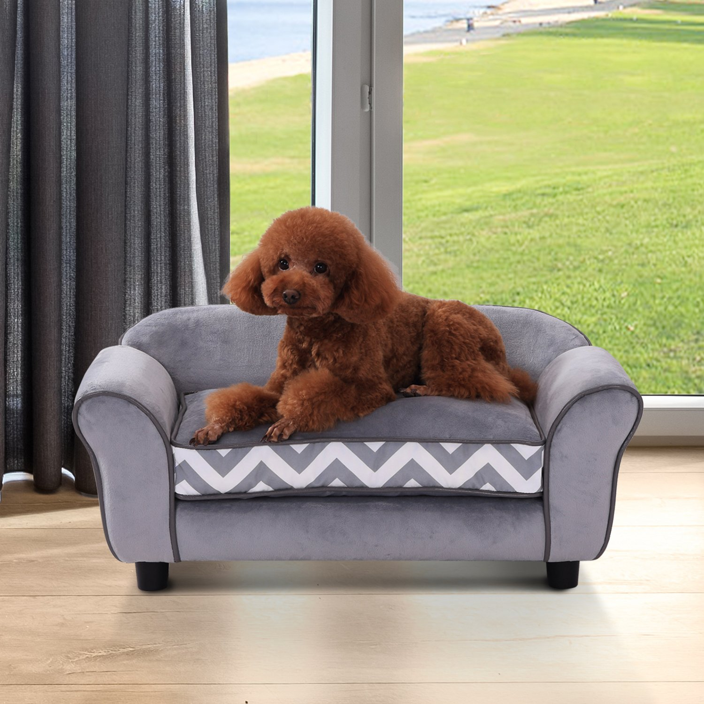Outsunny Garden Canapé pour Chien Chat Animaux sur Pied Coussin Amovible Lavable Grand Confort 74 x 41 x 33 cm Gris