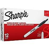 Sharpie 32701 Retractable Permanent Markers, Fine Point, Black, 12 Count