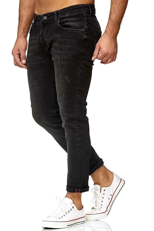 Redbridge Hommes Jeans Regular-Fit Vintage Casuales Effet Us/é D/échir/é Pantalon