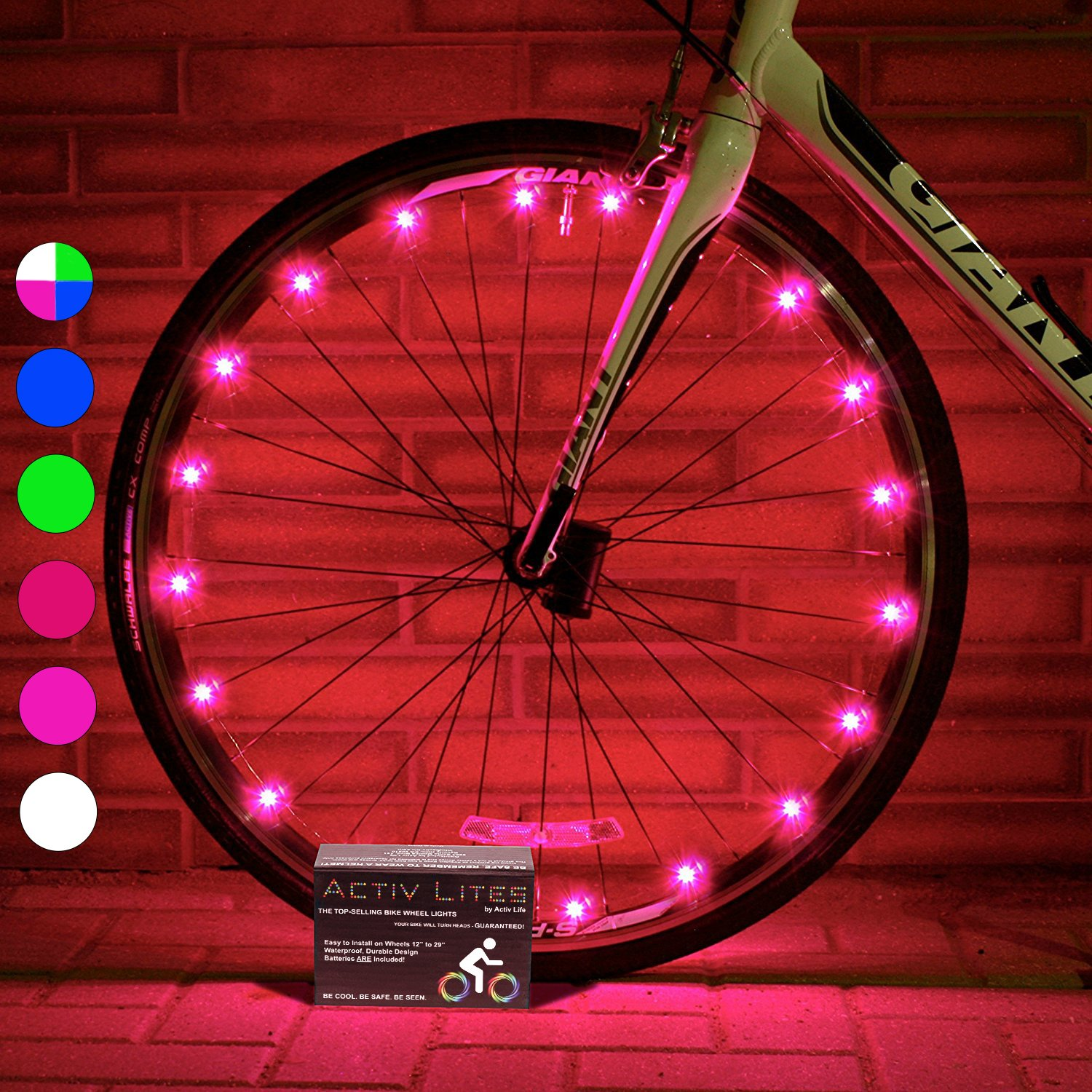 Active Life Bike Wheel Lights (1 Tire, Pink) Top Birthday Presents for Girls 3 Year Old + Teens & Women. Best Unique 2018 Xmas Ideas for Her, Wife, Mom, Friend, Sister, Girlfriend and Popular Aunts
