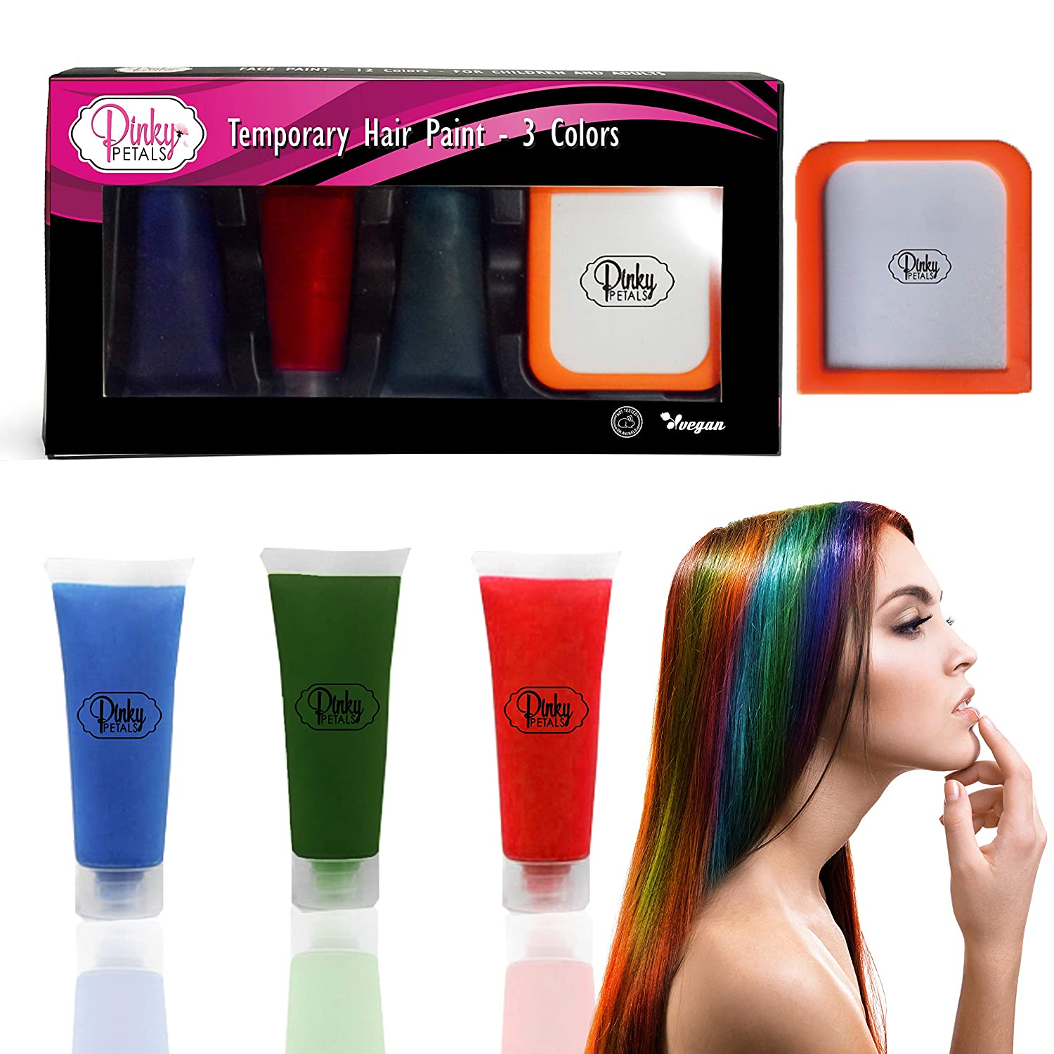 Hair Paint COUNT Vibrant, Long Lasting Temporary Hair Color Cream Pinky Petals (Blue/Green/Red)