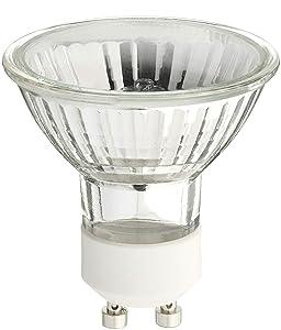Pack of 6 - 50 Watt, GU10 Base, 120 Volt, MR16 With UV Glass Cover, Halogen Flood Light Bulb, Q50MR16/FL/GU10