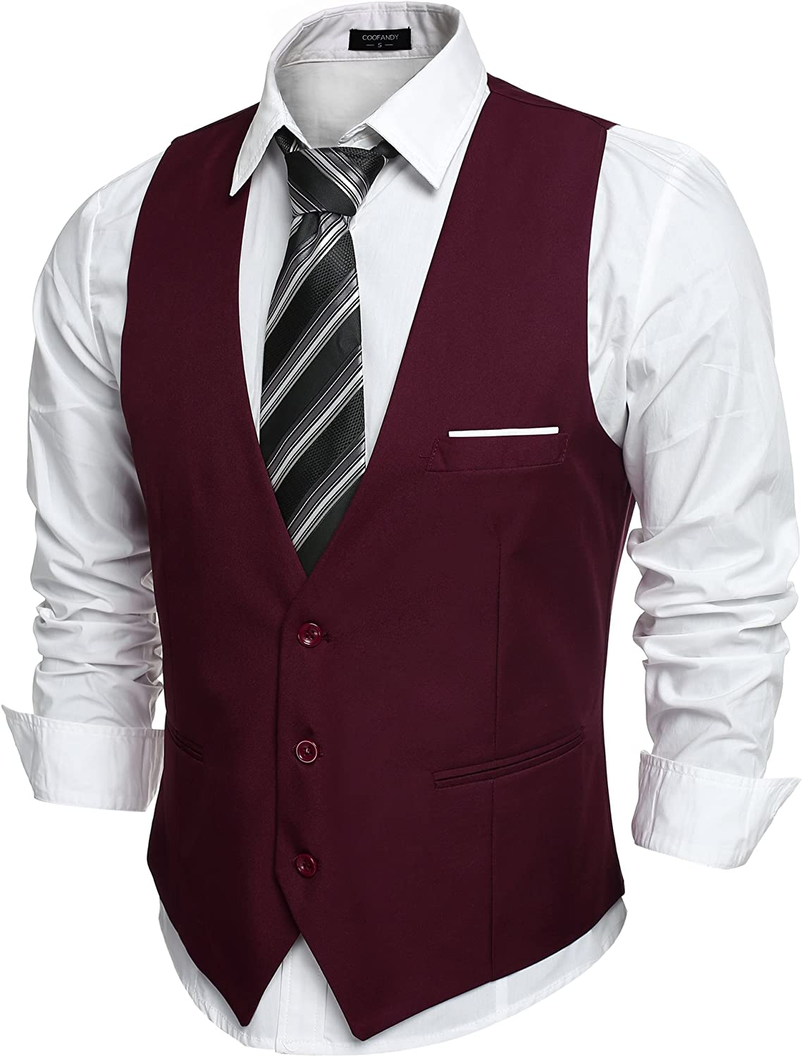 COOFANDY Men's V-Neck Sleeveless Slim Fit Jacket Casual Suit Vests at  Men's Clothing store