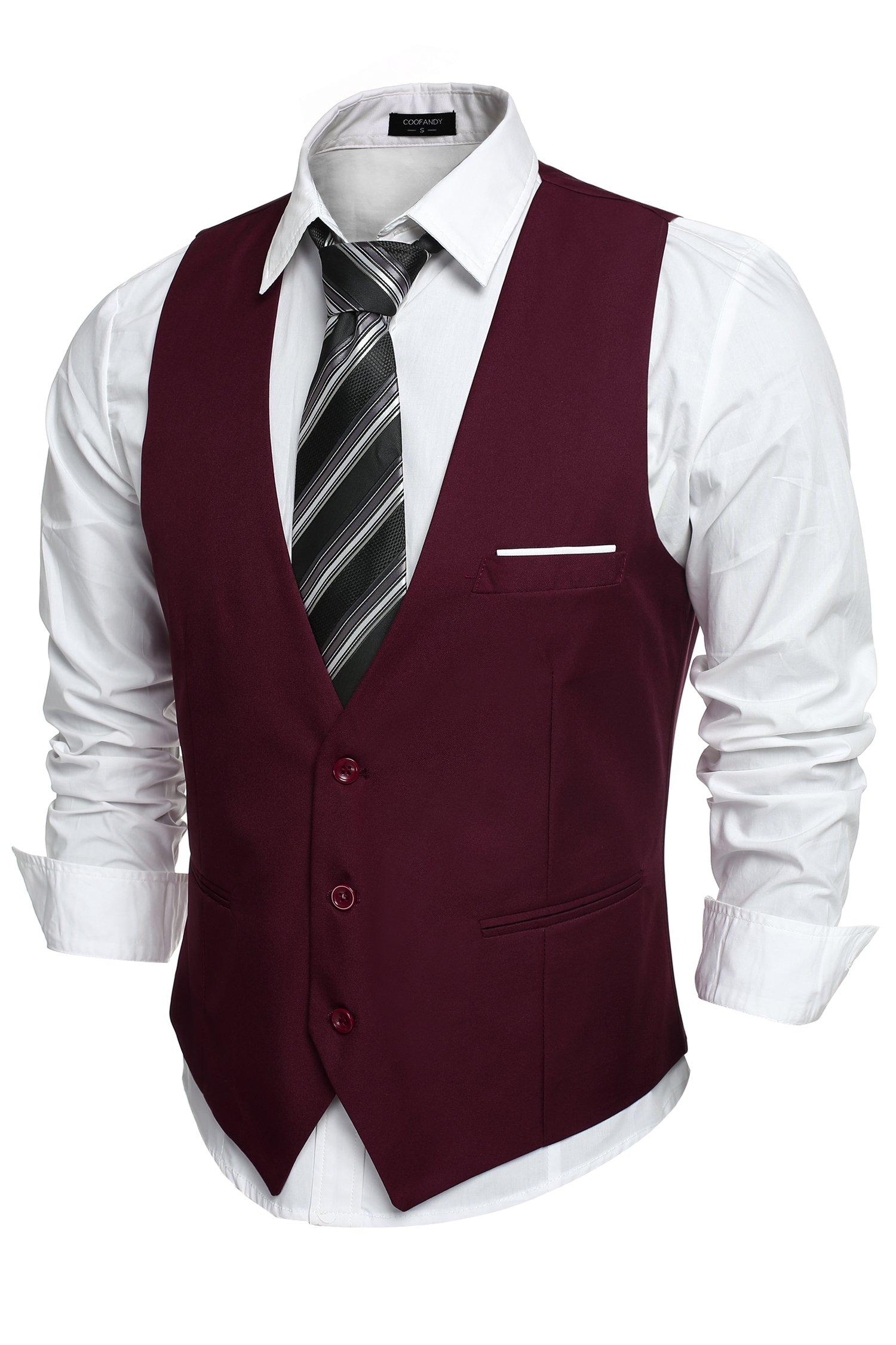 COOFANDY Men's V-Neck Sleeveless Business Suit Vests Slim Fit Wedding Waistcoat, Type-02 Wine Red, Medium