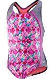 Speedo Girls' Swimsuit One Piece Thick Strap Racer Back Printed-Discontinued