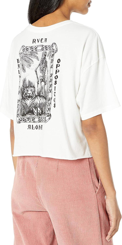 RVCA Womens Tiger Portrait Short Sleeve Crew Neck Cropped T-Shirt
