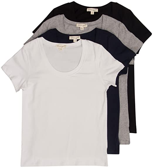 b7bf153a1 Image Unavailable. Image not available for. Color: 4 Pack Zenana Women's  Plus Size Basic Scoop Neck T-Shirts ...