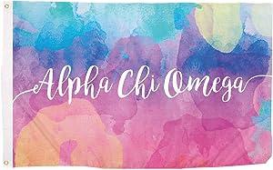Alpha Chi Omega Water Color Sorority Flag Greek Letter Banner Large 3 feet x 5 feet Sign Decor AXO (Flag - Water Color)