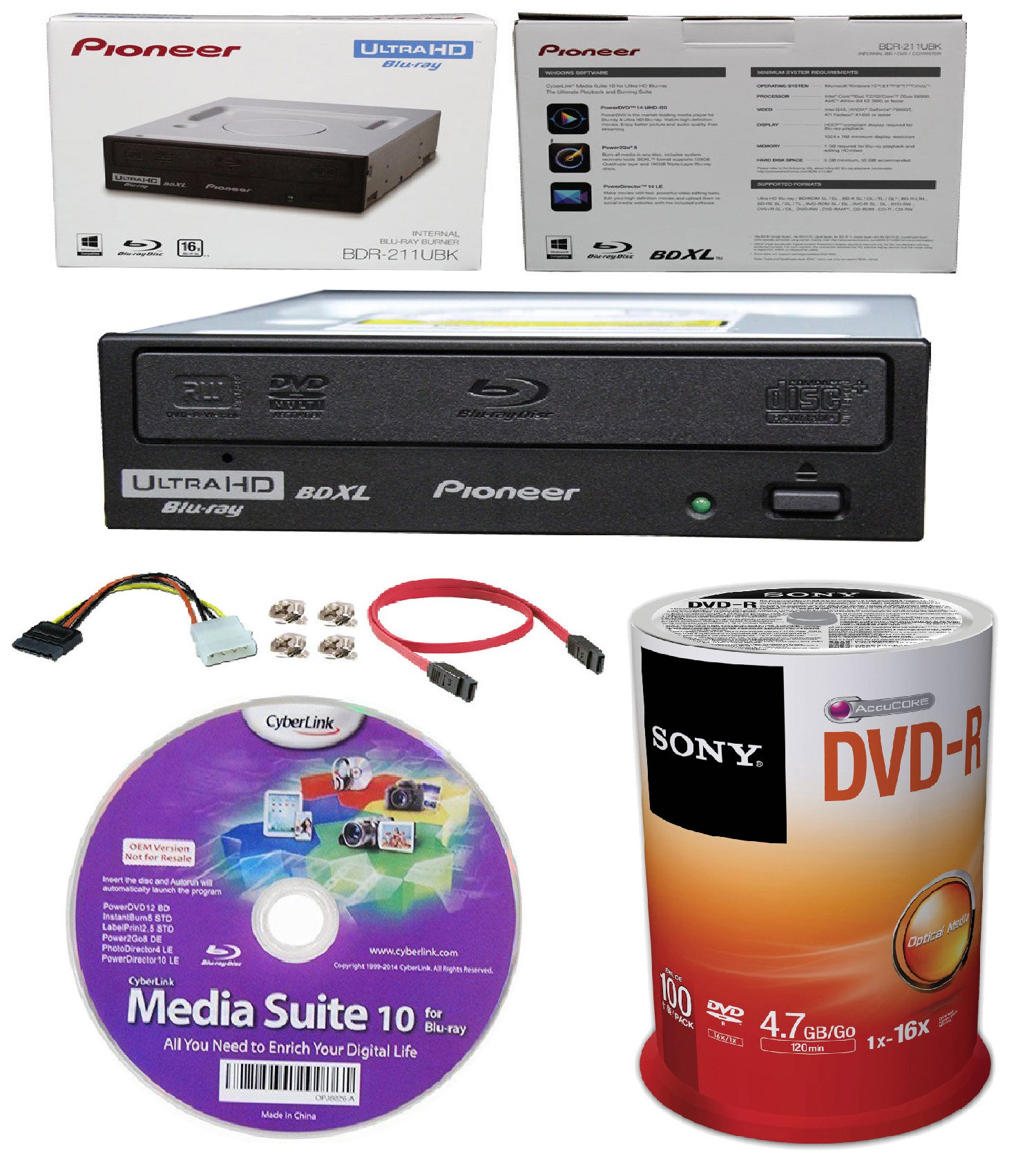 Pioneer 16x BDR-211UBK Internal Ultra HD Blu-ray BDXL Burner, Cyberlink Software and Cable Accessories Bundle with 100pk DVD-R Sony Accucore 4.7GB 16X Recordable Media by Produplicator