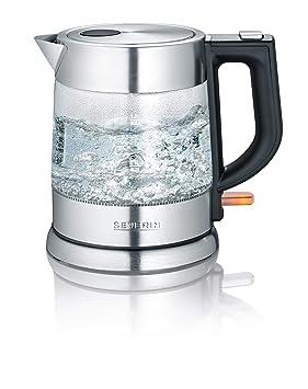 SEVERIN Hervidor de Agua de Cristal, 1 L, 2.200 W aprox., WK 3468, Acero Inoxidable/Negro