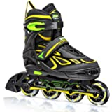 2PM SPORTS Vinal Girls Adjustable Inline Skates with Light up Wheels Beginner Skates Fun Illuminating Roller Skates for Kids