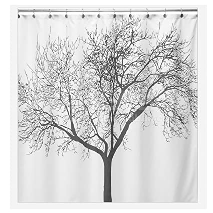 Amazoncom Hmlifestyle Shower Curtain Tree Fabric 72x80inch Black