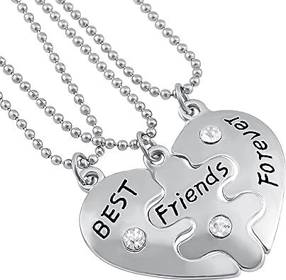 JOVIVI 3PCS Bijoux Pendentif Collier Coeur Puzzle best friends forever Separable Detachable avec Strass Cristal Amitie Friendship Metal Alliage Avec 3 Chaines de Fer