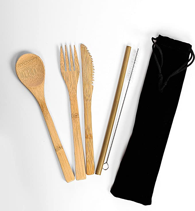 RiBaWorld Juego de cubertería de bambú   Cubiertos de viaje   Cubertería ecológica de bambú reutilizable, cuchillo, tenedor, cuchara, pajitas y ...