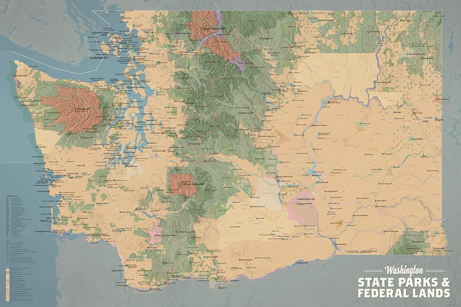 Best Maps Ever Washington State Parks & Federal Lands Map 24x36 Poster  (Camel & Slate Blue)