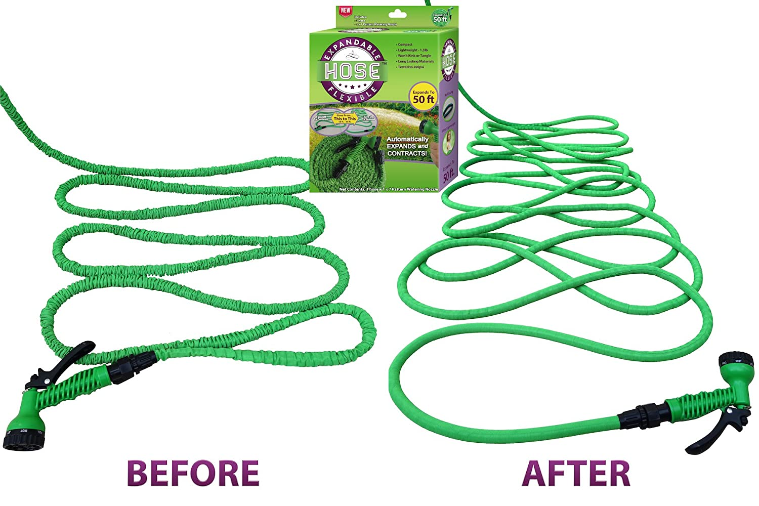 #1 Expandable Garden Water Hose & Nozzle Combo, Expanding From 17' to 50ft, Three Times its Length – This Flexible High Volume Garden Hose is Strong Lightweight Natural Rubber and Never Kinks or Tangles. The S