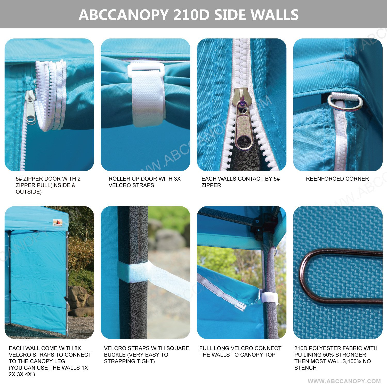 HandBag sky blue ABCCANOPY Patio 3x3 Gazebo Fully Waterproof Heavy Duty Pop Up Gazebo With 4 Walls