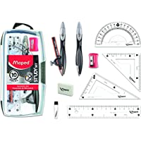 Maped Study 10-Piece Compass and Geometry Kit with Shatterproof Box, Assorted Colors (897010)
