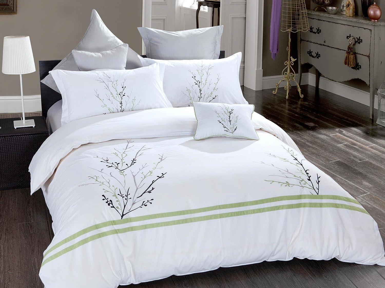 "7 Pcs Poly Cotton Duvet Cover Bedding Set Floral Design Embroidery 86""x88"" Full Size"