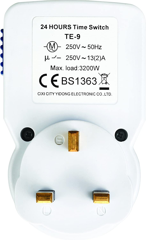 Masterplug Indoor Power TMS24-MP 24-Hour Mechanical Segment Timer ...