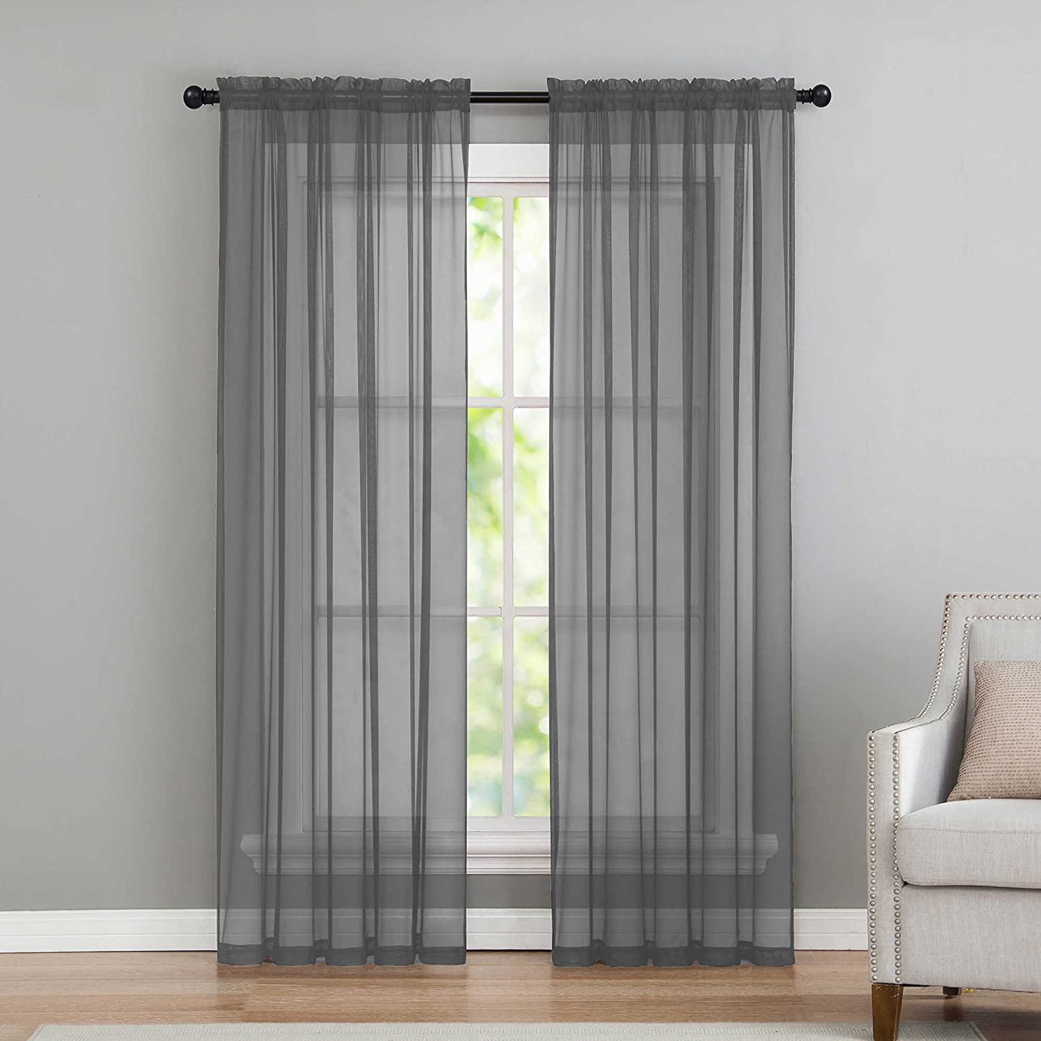 Sheer Voile Window Curtains by GoodGram - Assorted Colors (Dark Grey