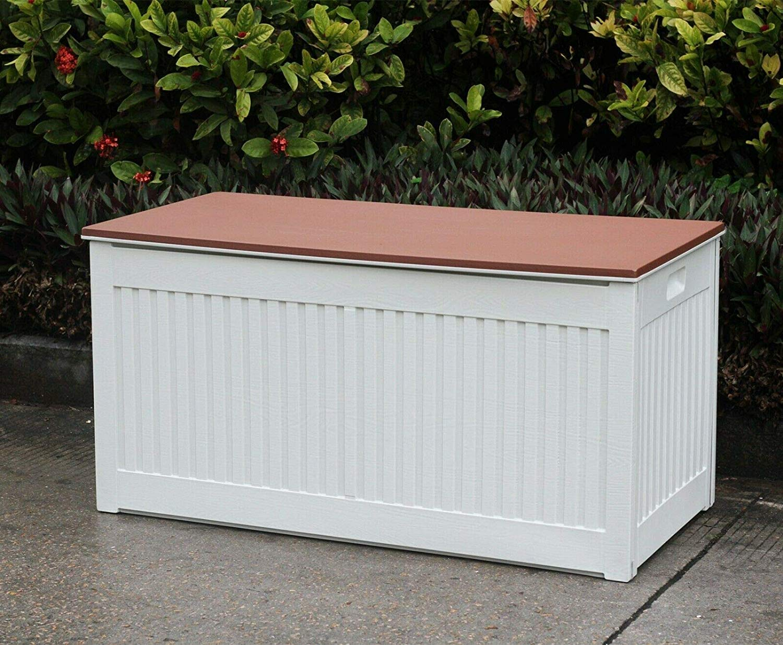 Outdoor Garden Plastic Storage Lockable Utility Tool Chest Cushion Shed Box 280L Garden Storage & Housing Cream/Green