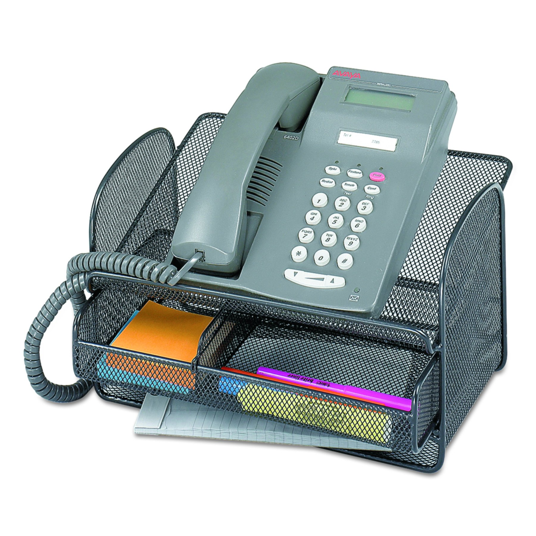 Safco 2160BL Onyx Angled Mesh Steel Telephone Stand, 11 3/4 x 9 1/4 x 7, Black by Safco