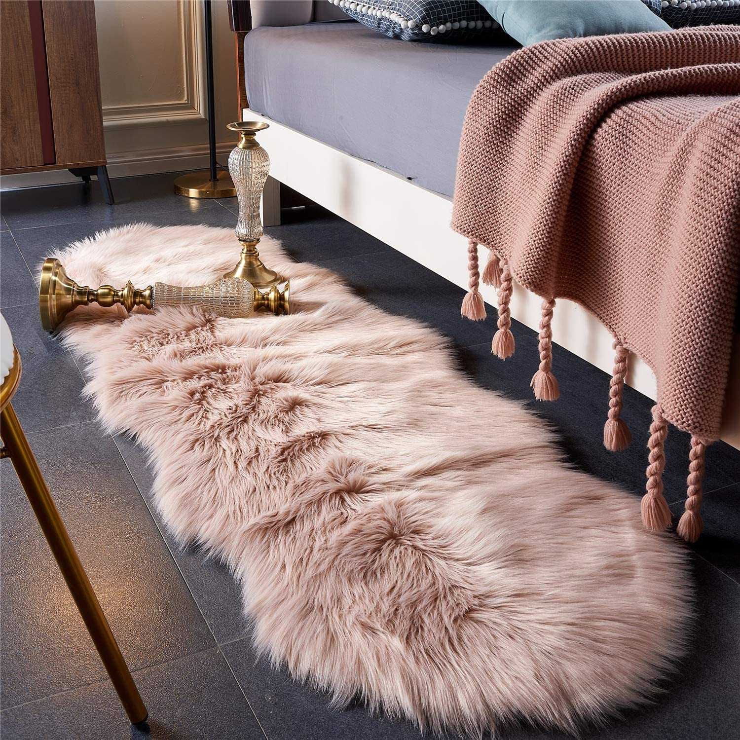 EasyJoy Ultra Soft Fluffy Rugs Faux Fur Rug Chair Cover Seat Pad Fuzzy Area Rug for Bedroom Floor Sofa Living Room (2 x 6 ft Sheepskin, Pink)