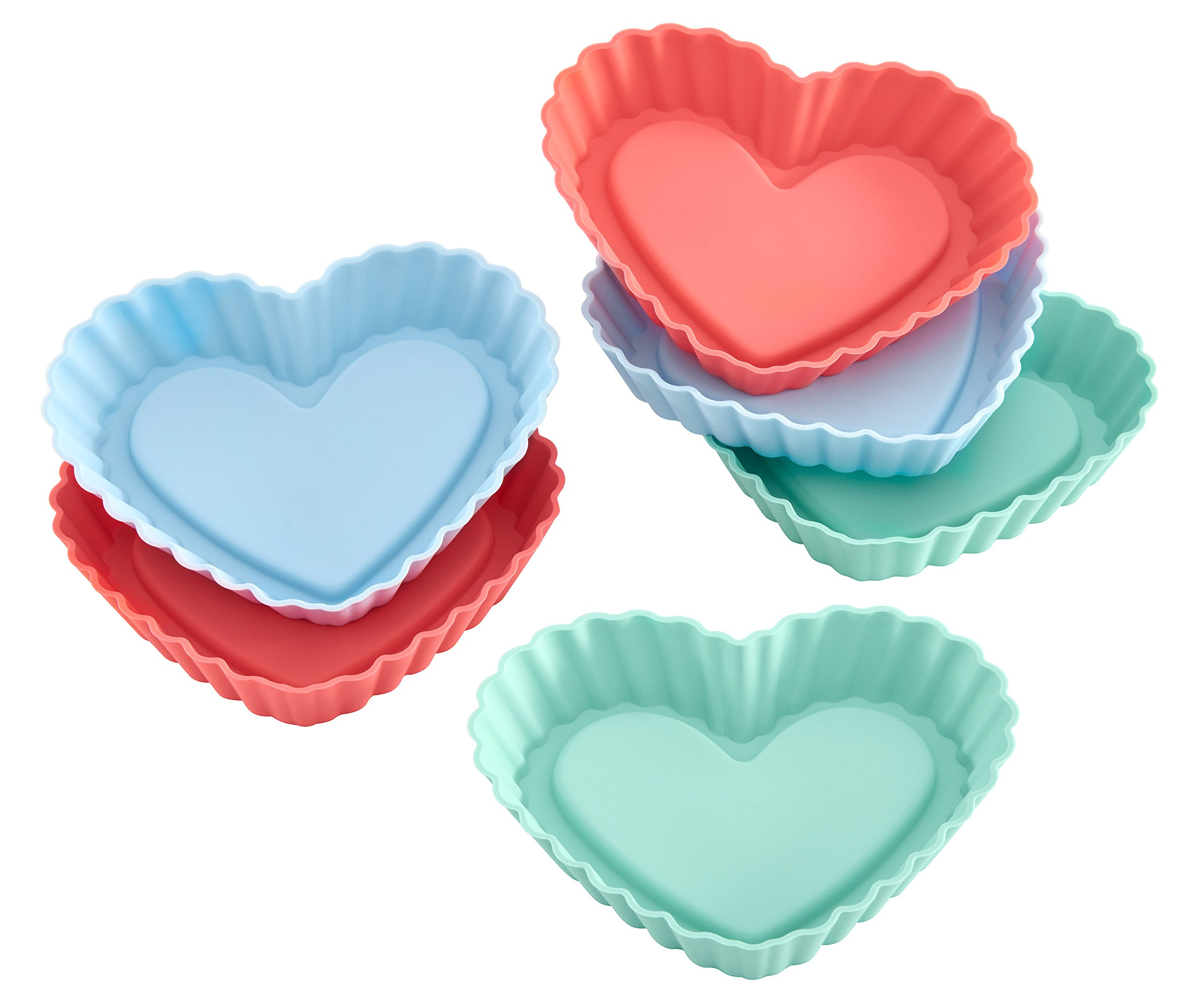 Lurch Germany Flexiform Silicone Heart Shaped Tartlet Molds Set of 6, Pink/Green/Blue