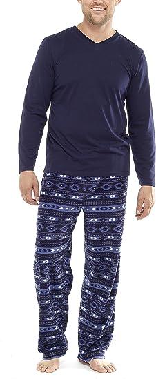 Pijama de Invierno para Hombre, con Camiseta y Pantalones súpersuaves de Tela Polar con Estampado fantasía,