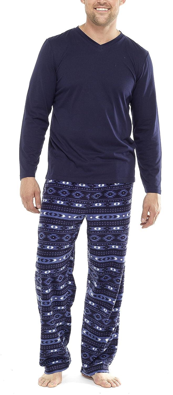 Pigiama invernale da uomo, con maglia in jersey e pantaloni morbidissimi in pile, con stampa Fairisle (da S a 5XL) HT051RPA
