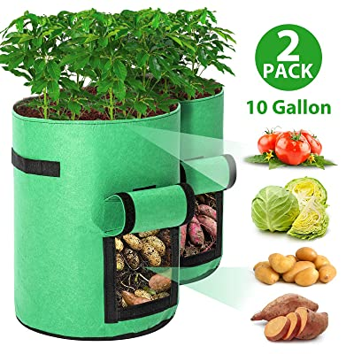 Tvird Potato Grow Bags 2 Pack 10 Gallon Planting Pouch Fabric Pots Premium Breathable Cloth Bags for Potato/Plant Container with Handles and Velcro Window(Green) : Garden & Outdoor
