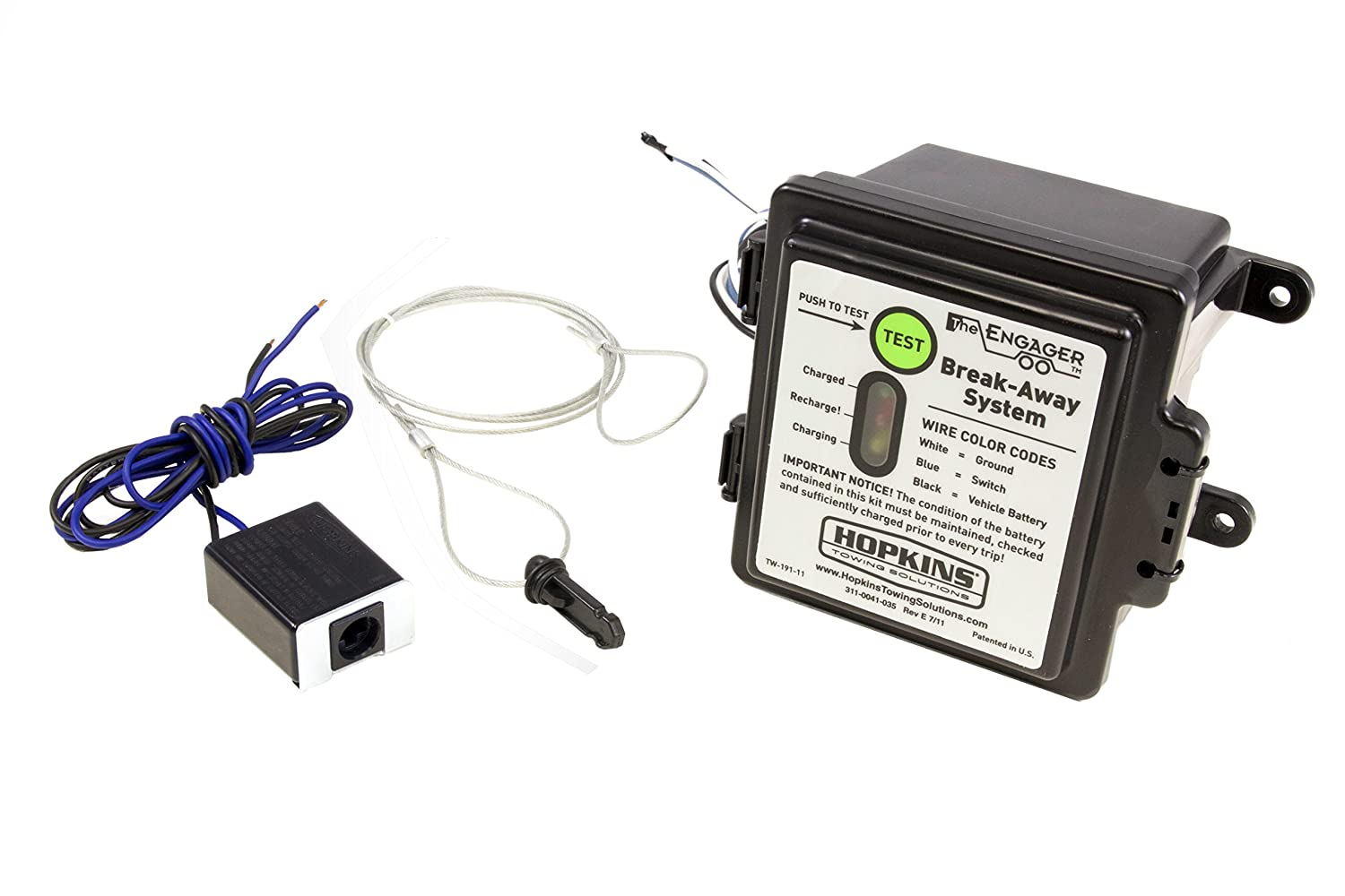 "Amazon.com: Hopkins 20119 Engager SM Break-Away System with Battery Meter  and 44"" Switch: Automotive"