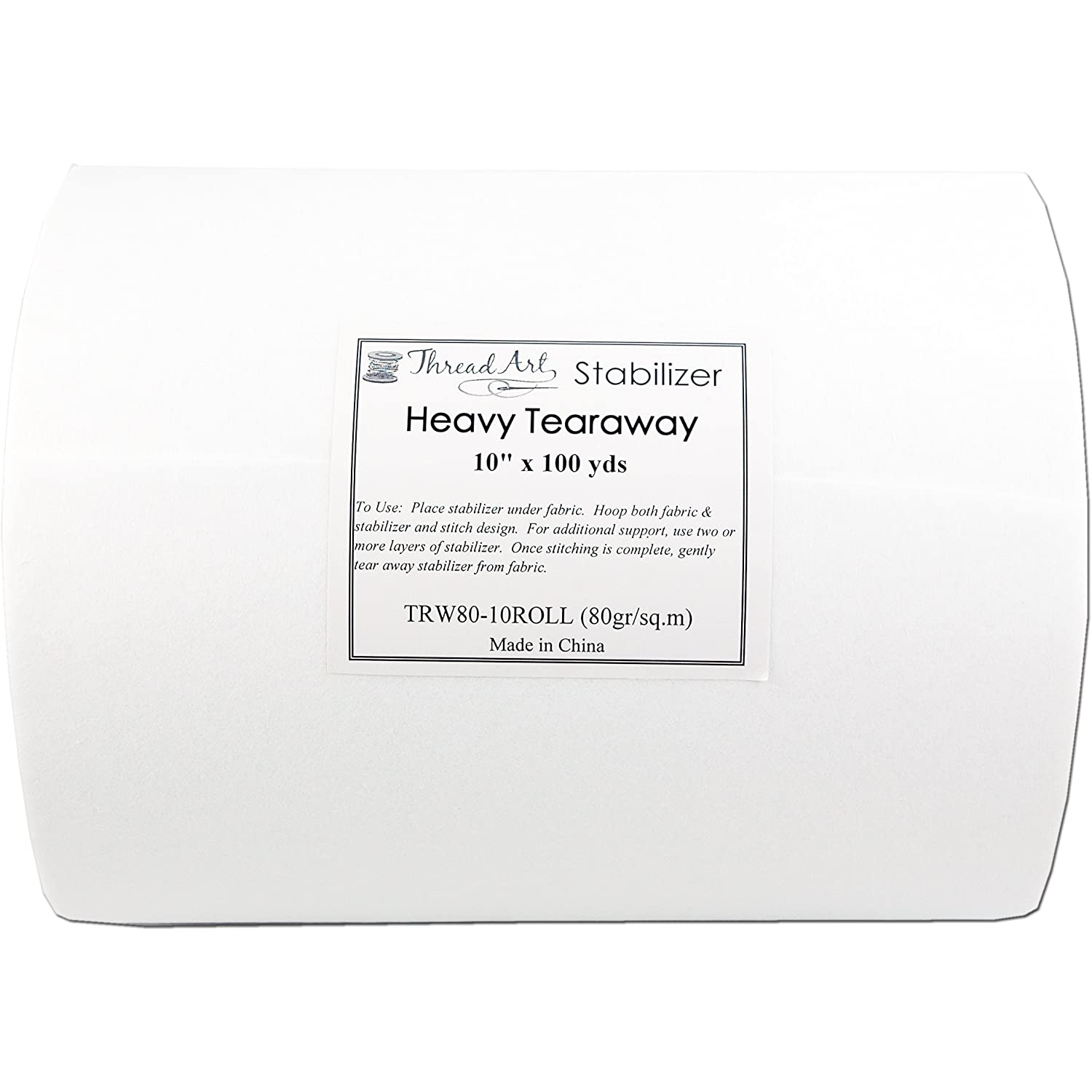 Iron On Tearaway Embroidery Stabilizer - 10 x 100 yd roll - Cutaway/Tearaway/Washaway Available in Rolls and Precut Sheets - by Threadart