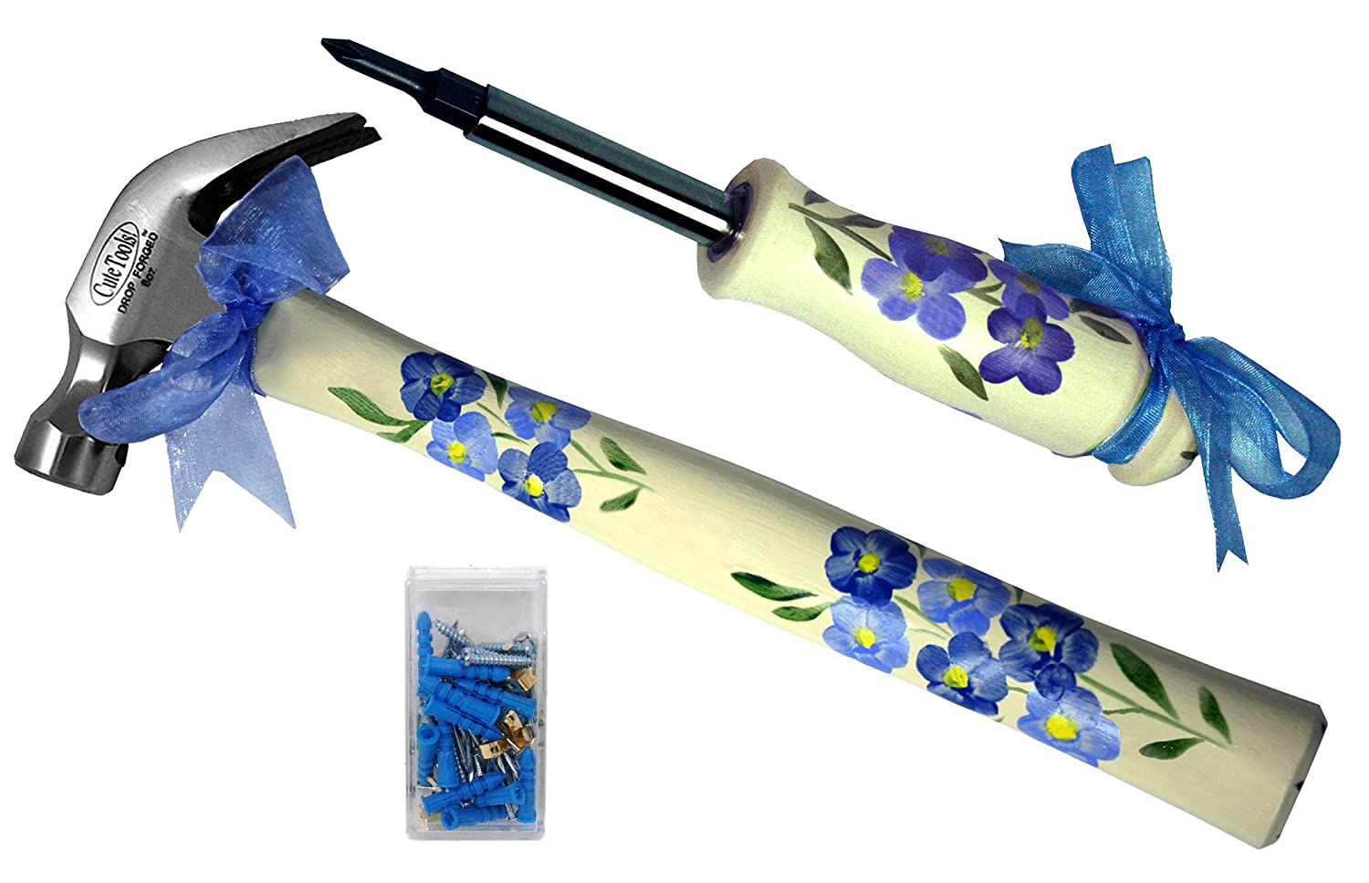 CuteTools! 13330 Home Essential Kit, Includes a Hammer, 4-in-1 Screwdriver and Assorted Fasteners, Wildflowers - Hand Tool Sets - Amazon.com