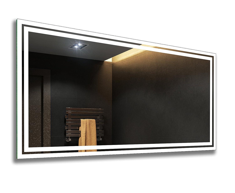 FORAM Badspiegel mit LED Beleuchtung - Nach Maß - Beleuchtet Badezimmerspiegel Kalt Warm Weiß A++ L57