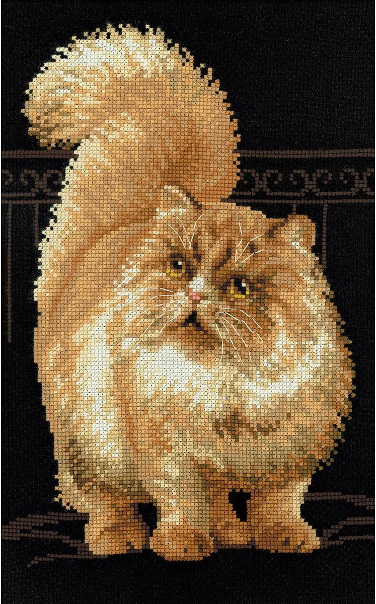 RIOLIS 1152 – Persian Cat – Counted Cross Stitch Kit 10 x 15 Zweigart 10 ct. Black AIDA 15 Colors
