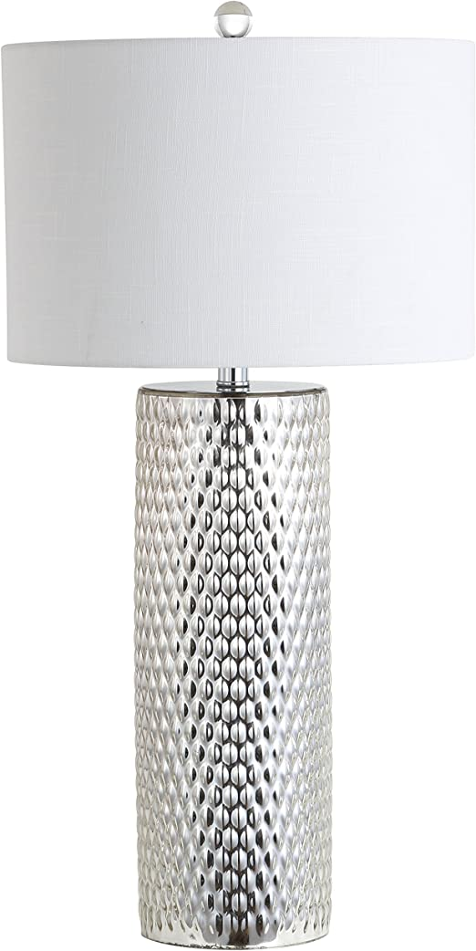 Jonathan Y Jyl1013a Isabella 30 Glass Led Table Lamp Contemporary Transitional Modern Glam For Bedroom Living Room Office College Dorm Coffee Table Bookcase Silver Amazon Com