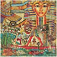 """COOSUN Vintage Egyptian Style Placemats 1 Piece, Heat-Resistant Placemats Stain Resistant Washable Polyester Square Table Place Mat for Kitchen Decorative Dining Table, 12""""x12"""""""