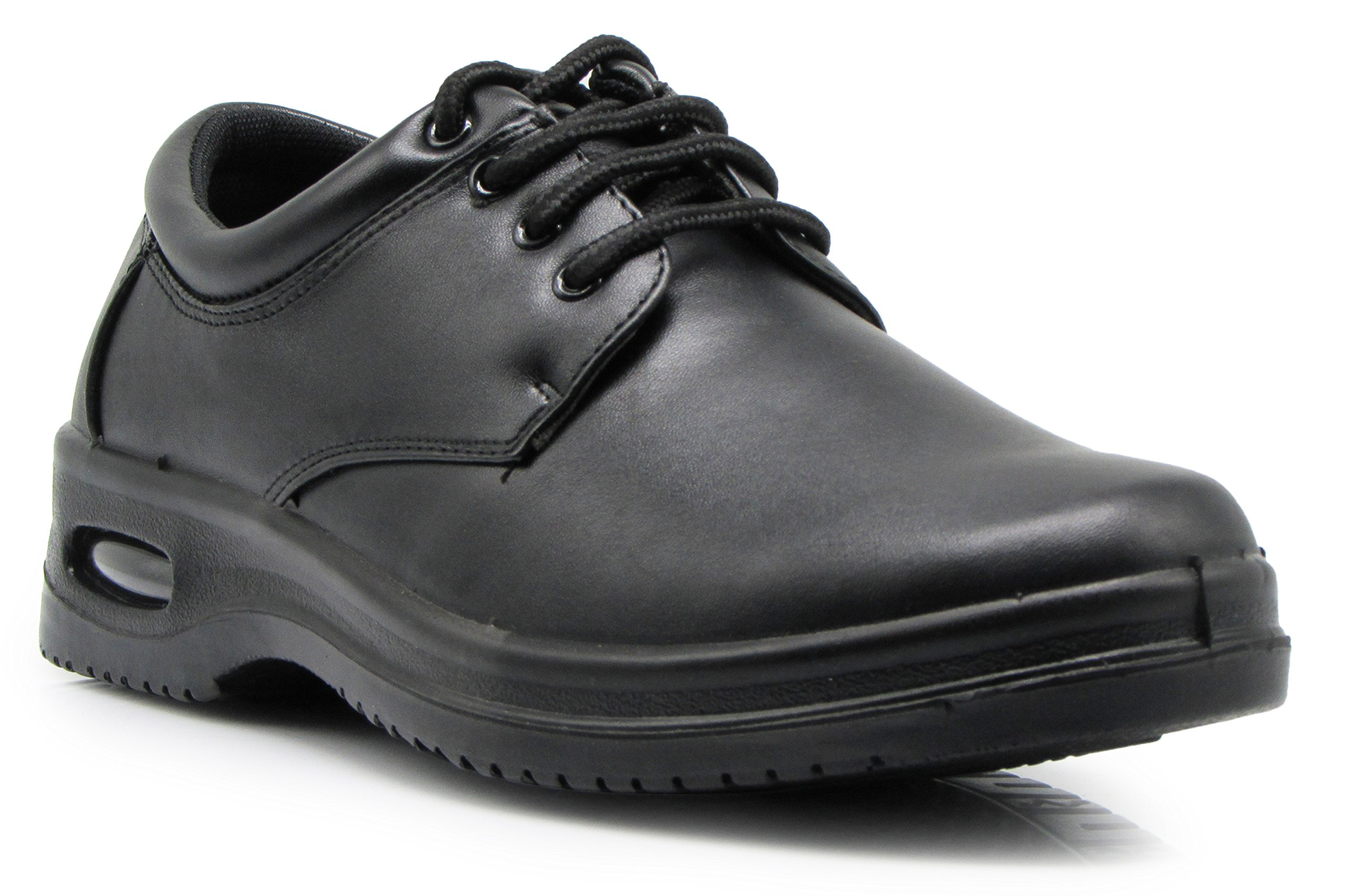OR4 Mens Black Oil Resistant Anti Slip Restaurant Lace up Oxfords Loafers Working Shoes with Air (9.5, Lace up)